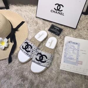 Chanel Women Espadrille Slide Sandals White CHS-128