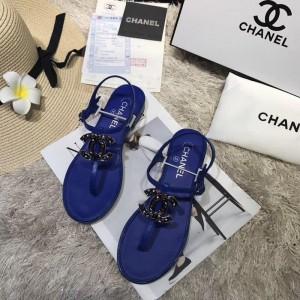 Chanel Women Thong Flat Sandals Blue CHS-138