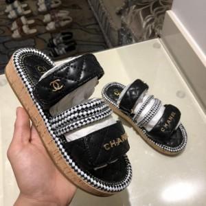 Chanel Women Slide Sandals Black CHS-162