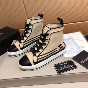 Chanel Women High-Top Sneakers Beige CHS-186