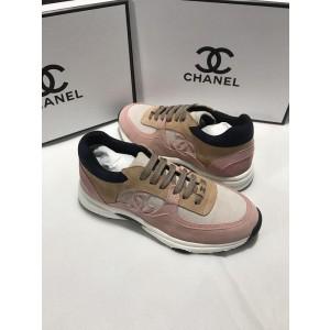 Chanel Men & Women Low-Top Sneakers Pink CHS-189