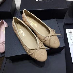 Chanel Women Ballet Flats Beige CHS-190