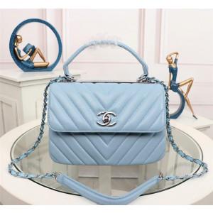Chanel Top Handle Flap Bags CH027SV-Light-Blue