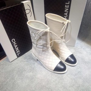 Chanel Women Ankle Boots Beige CHS-248