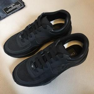 Chanel Men & Women Low-Top Sneakers Black CHS-301