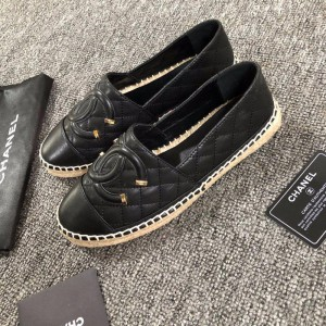 Chanel Women Espadrille Flats Black CHS-036