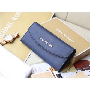 Michael Kors Three-fold Long Wallet Dark Blue (MK115)