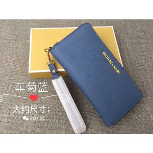 Michael Kors Wrist Long Wallet Car Daisy Blue (MK315)
