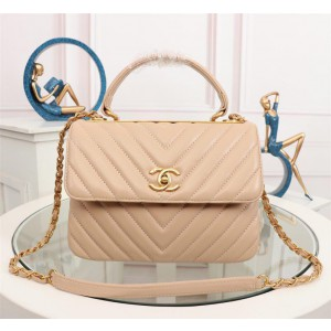 Chanel Top Handle Flap Bags CH027SV-Apricot
