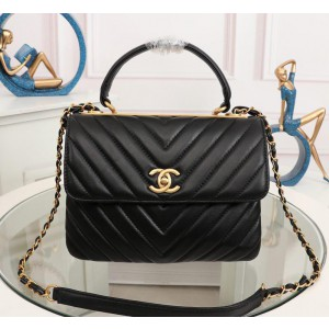 Chanel Top Handle Flap Bags CH027SV-Black