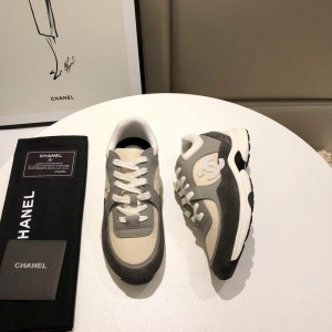 Chanel Men & Women Low-Top Sneakers Grey CHS-048