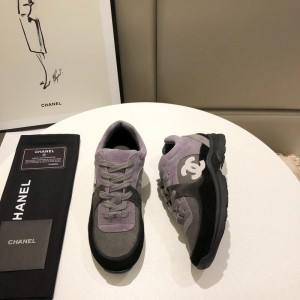Chanel Men & Women Low-Top Sneakers Black CHS-050