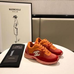 Chanel Men & Women Low-Top Sneakers Orange CHS-054