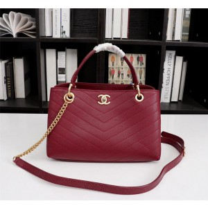 Chanel Top Handle Tote Bags CH075-Wine-Red