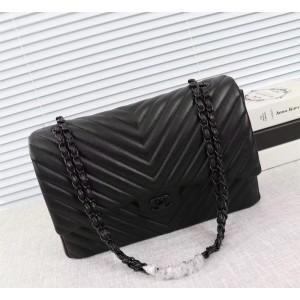 Chanel Large Double Flap Classic Handbag CH229V-Pure-Black