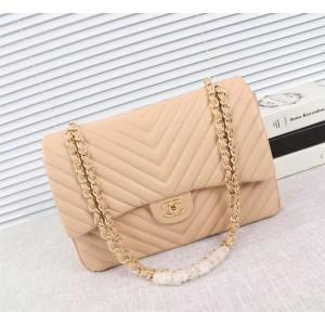 Chanel Large Double Flap Classic Handbag CH229V-Apricot