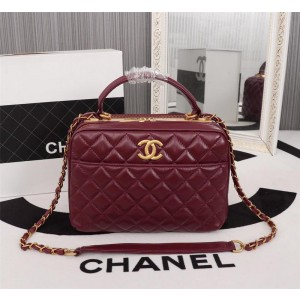 Chanel Top Handle Crossbody Bowling Bag CH021-Wine-Red
