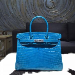 Replica Beautiful Hermes Shiny Alligator Crocodile Birkin 30cm Palladium Hardware Handstitched, Blue Izmir 7W RS05598