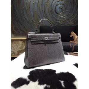 Hermes Kelly 28cm Lizard Skin Sellier Rigide Bag Handstitched Palladium Hardware, Gris Fonce CK84 RS06846
