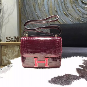 Customized Hermes Mini Constance 18cm Shiny Alligator Crocodile Original Leather Fully Handstitched Lizard Marquette, Bourgogne F5/Rouge Moyen RS20183